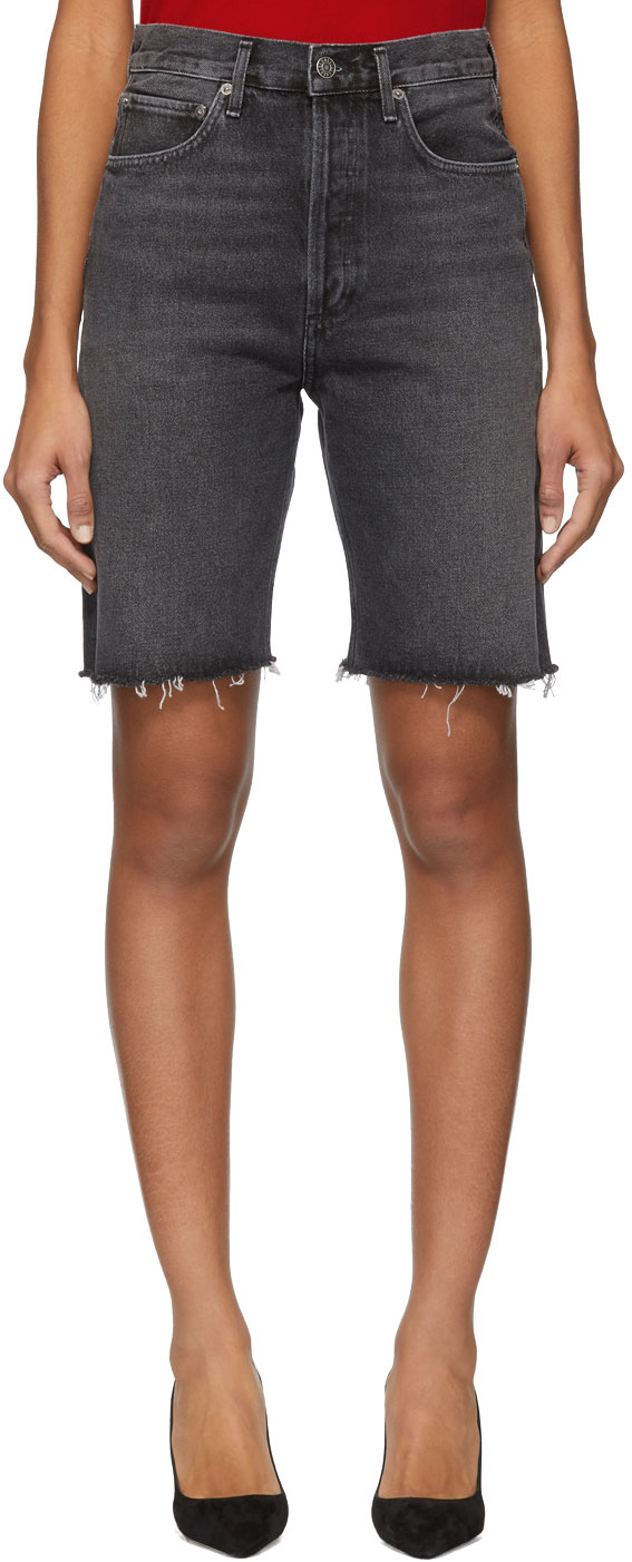 Agolde Shorts Grey Denim 90's Mid Rise Loose Shorts
