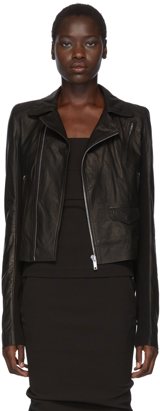 Rick Owens Jackets Black Leather Stooges Jacket