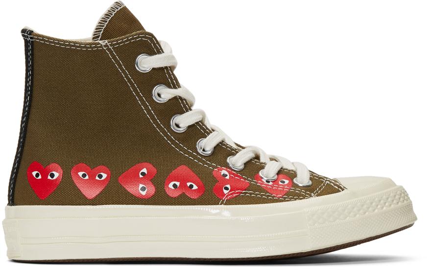 Comme Des Garçons Play Sneakers Khaki Converse Edition Multiple Hearts Chuck 70 High Sneakers