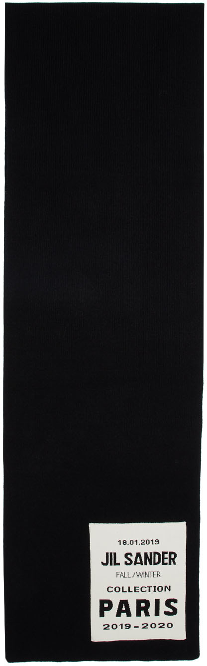 Jil Sander Accessories Black Flyer Artwork Patch Scarf