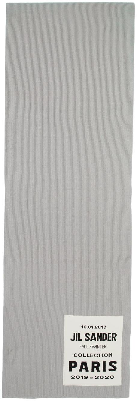Jil Sander Accessories Grey Flyer Artwork Patch Scarf