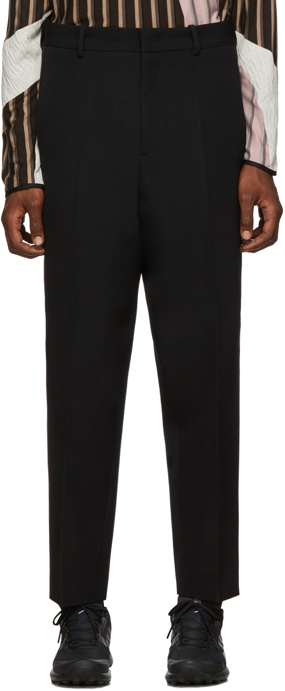 Jil Sander Loungewears Black Cropped High Waist Trousers
