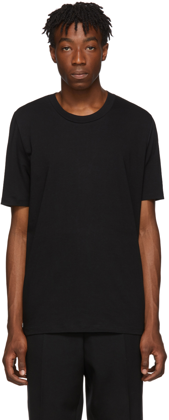 Jil Sander T-shirts Black Cotton T-Shirt