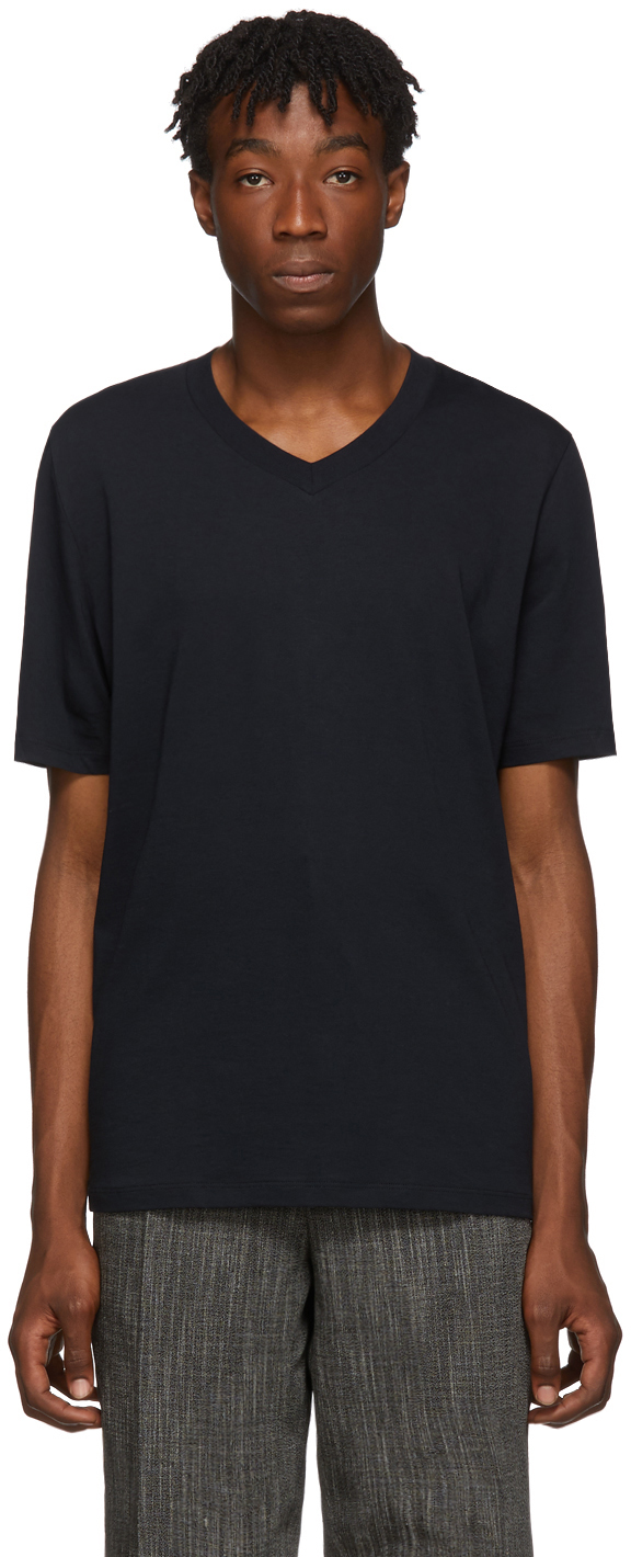 Jil Sander Knits Navy Cotton V-Neck T-Shirt
