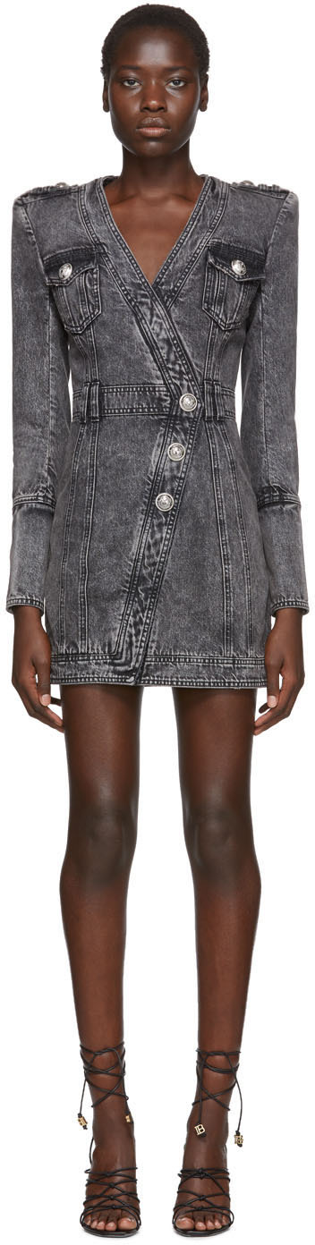 Balmain Dress Black Faded Denim Dress