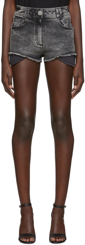 Balmain Shorts Black Denim High Waist Monogram Shorts