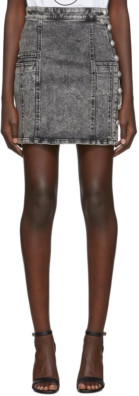 Balmain Shorts Black Denim High Waist Button Miniskirt