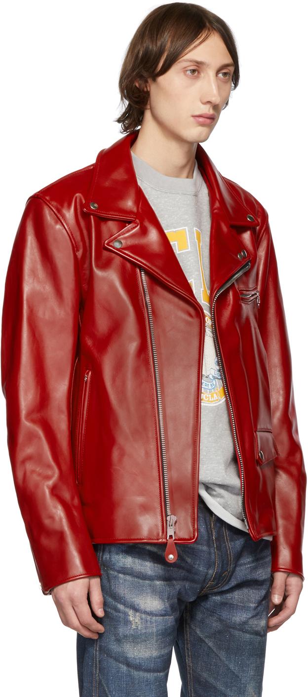 Junya Watanabe Jackets Red Leather Biker Jacket