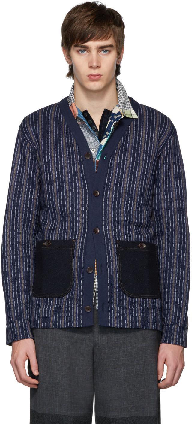 Junya Watanabe Accessories Navy Stripe Wool Cardigan
