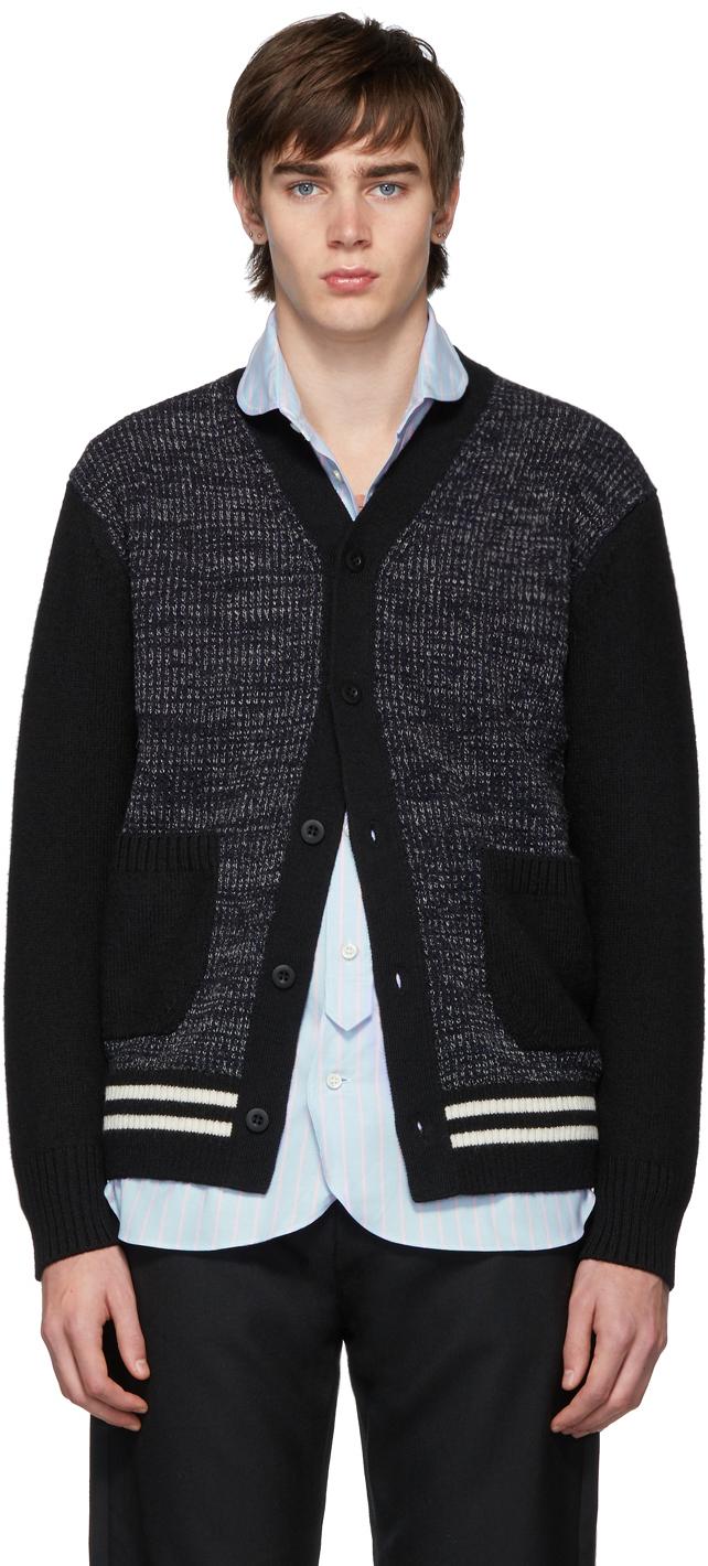 Junya Watanabe Accessories Navy & Black Wool Stripe Tuck Cardigan