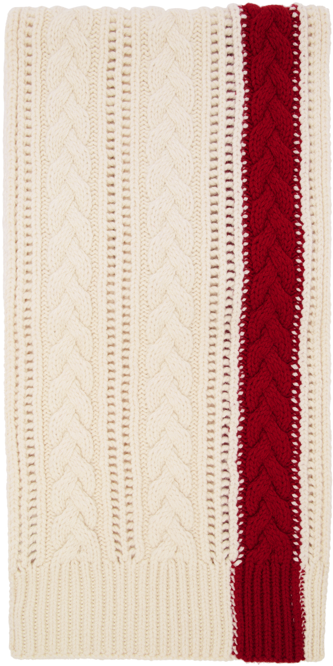 Alexander Mcqueen Knits White & Red Stripe Scarf