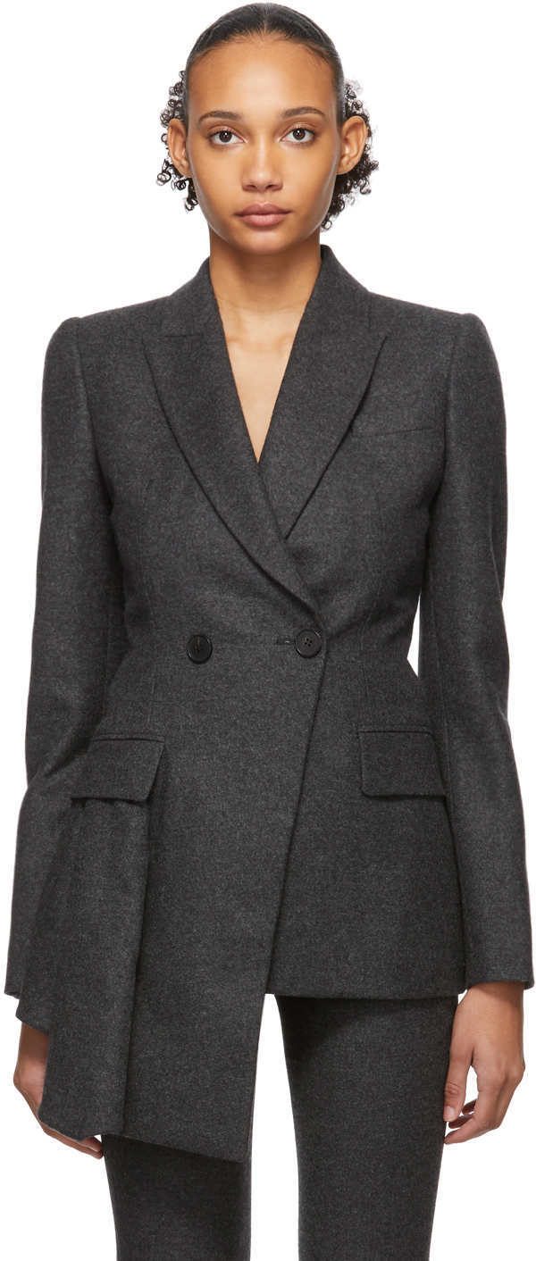 Alexander Mcqueen Blazers Grey Asymmetric Tailored Blazer