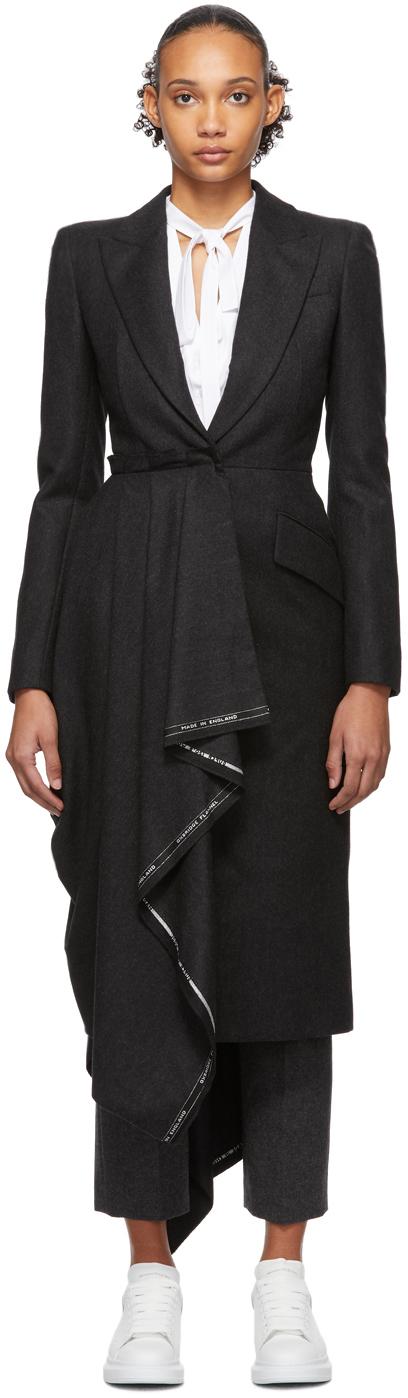 Alexander Mcqueen Coats Grey Selvedge Drape Coat