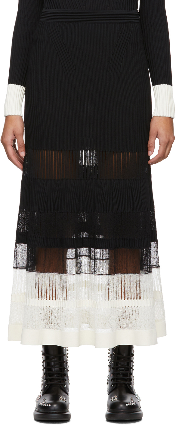 Alexander Mcqueen Knits Black & Off-White Rib Knit Skirt