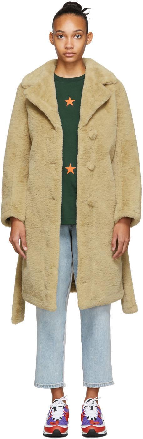 Opening Ceremony Coats Reversible Black & Brown Faux-Fur Coat