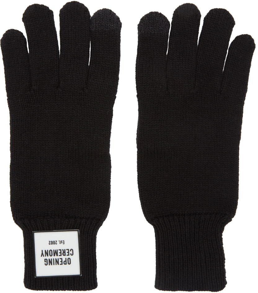 Opening Ceremony Knitwear Black Knit Logo Gloves