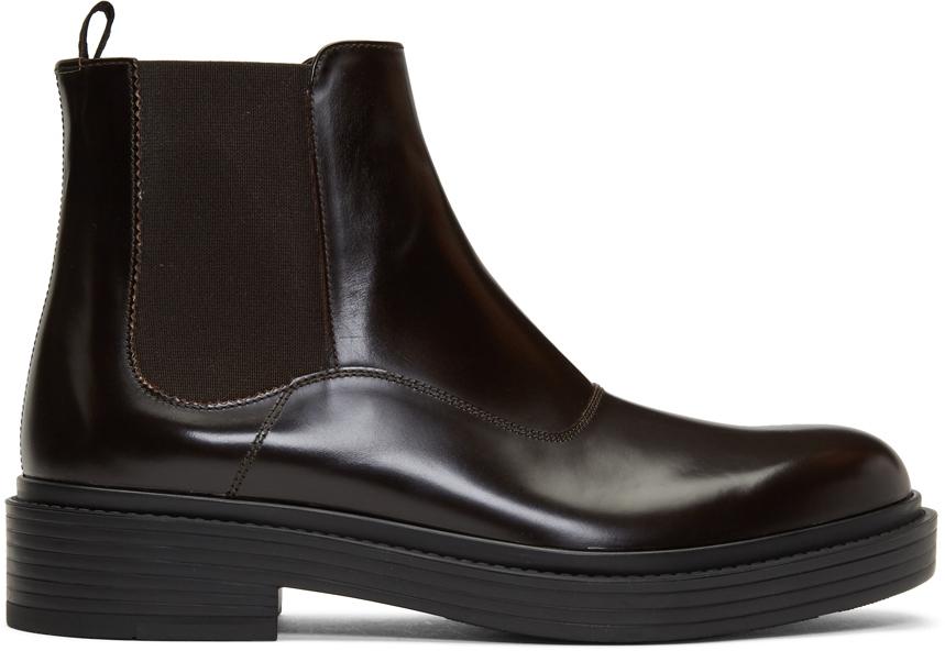 Giorgio Armani Boots Brown Leather Chelsea Boots