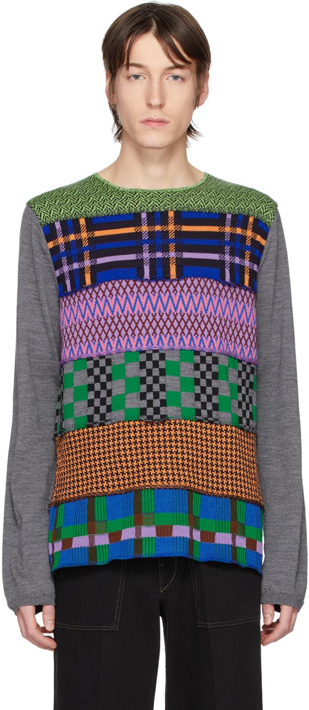 Comme Des Garçons Shirt Tops Multicolor Multipattern Wool Gauge 14 Sweater