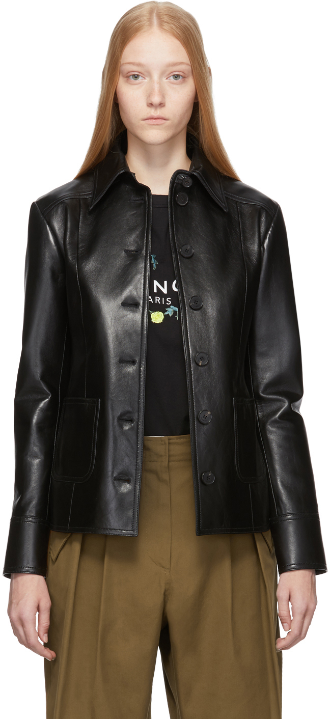 Givenchy Jackets Black Leather Button-Down Jacket