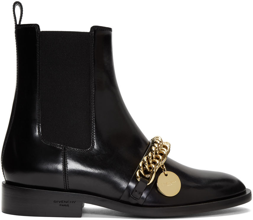 Givenchy Boots Black Chain Charm Chelsea Boots