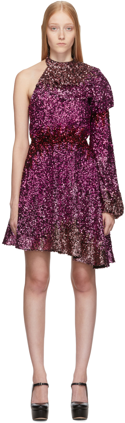 Halpern Pink Dégradé Sequin Single-Shoulder Dress