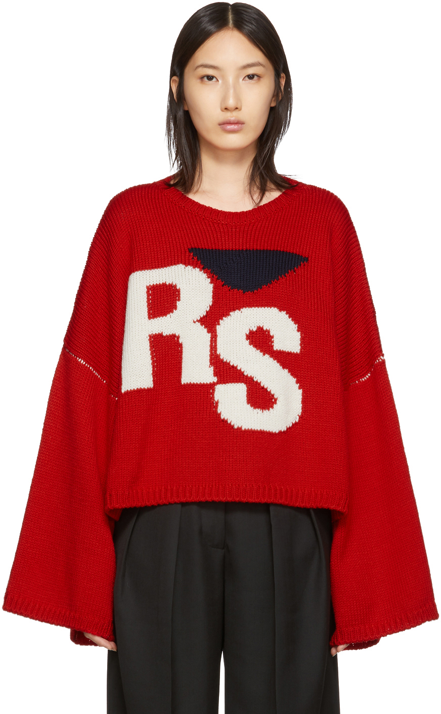 Raf Simons Red Oversized Intarsia Logo Sweater