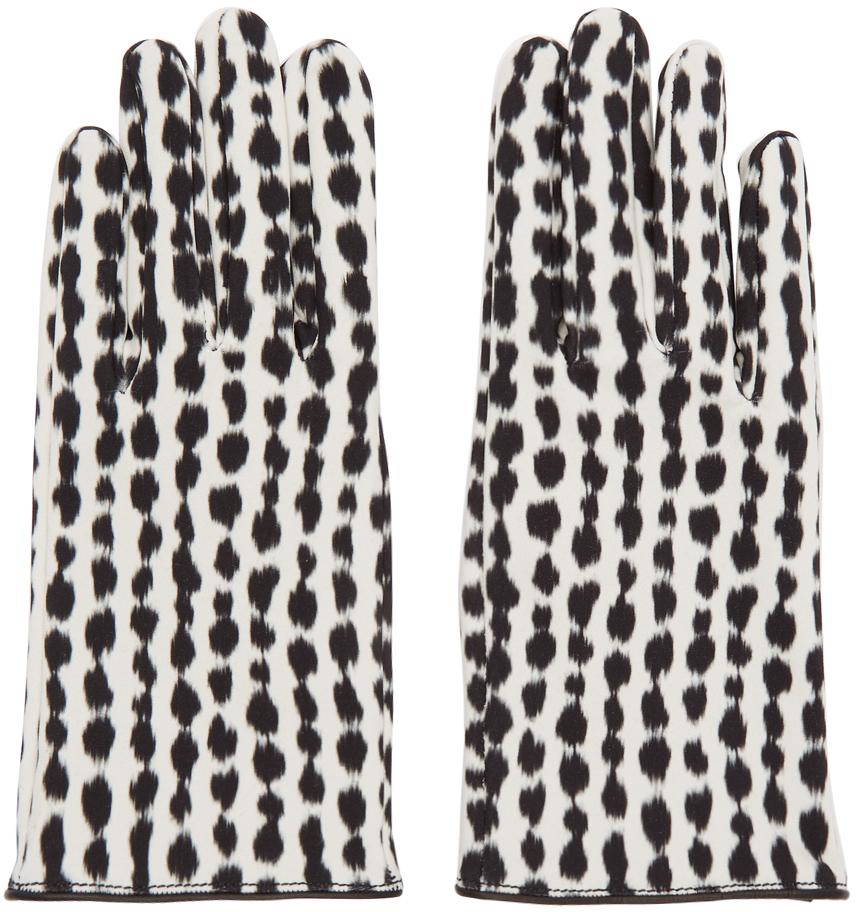 Raf Simons Gloves Black & White Animal Print Gloves