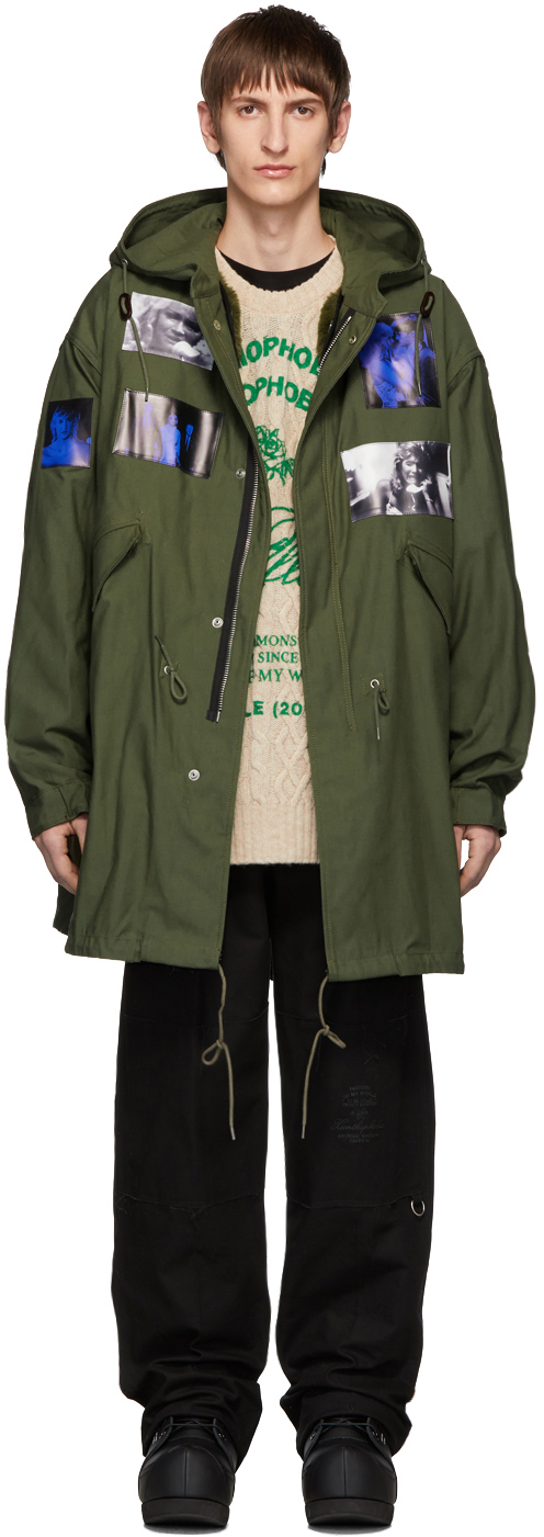 Raf Simons Coats Green Patches Parka