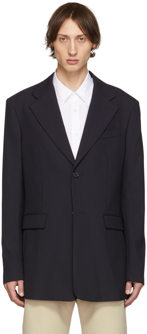 Raf Simons Blazers Navy Single-Breasted Fitted Blazer