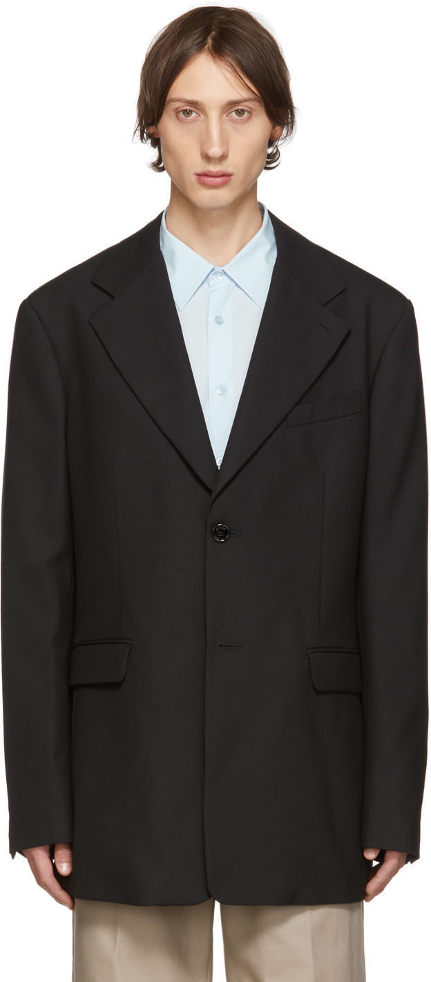 Raf Simons Blazers Black Single-Breasted Fitted Blazer