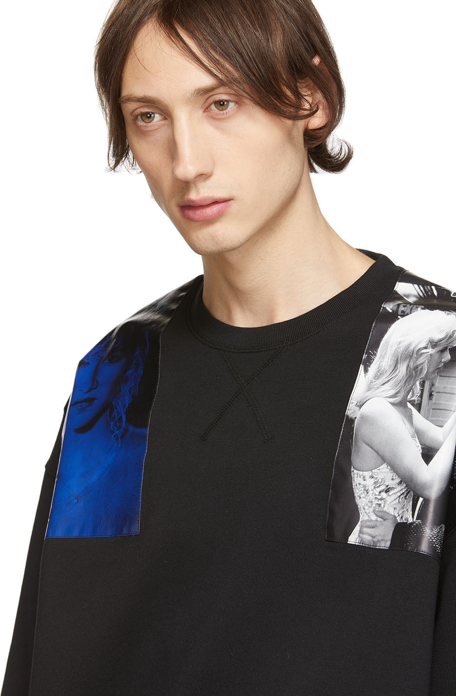 Raf Simons T-shirts Black Oversized Patches Sweatshirt