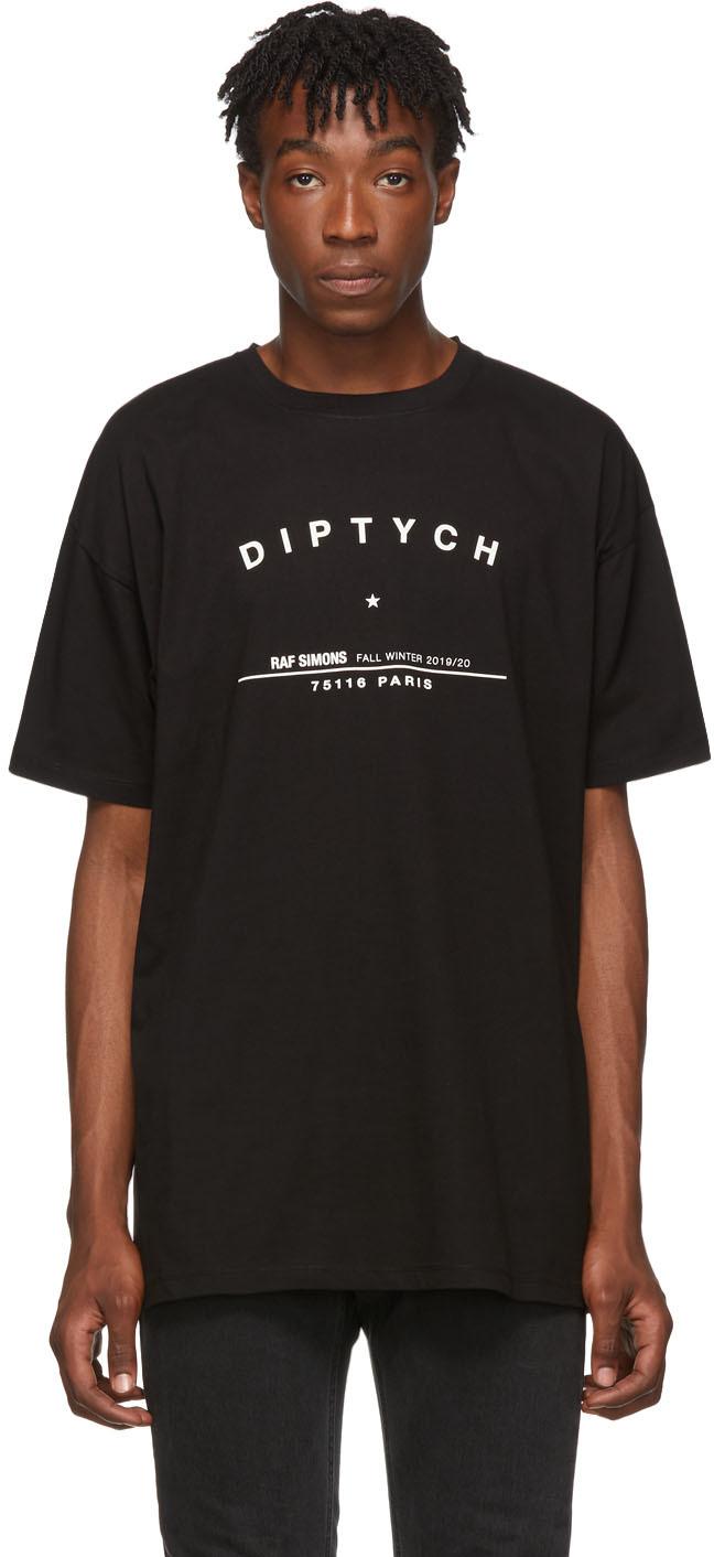 Raf Simons T-shirts Black Big-Fit 'Diptych' T-Shirt