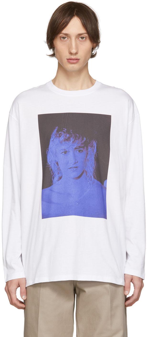 Raf Simons T-shirts White Blue Velvet Long Sleeve T-Shirt