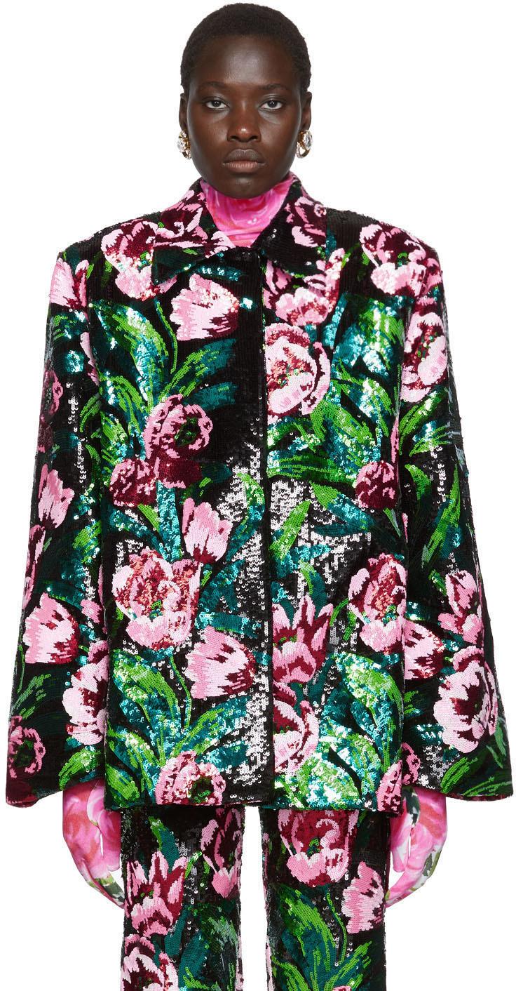 Richard Quinn Jackets Black Floral Embellished Jacket