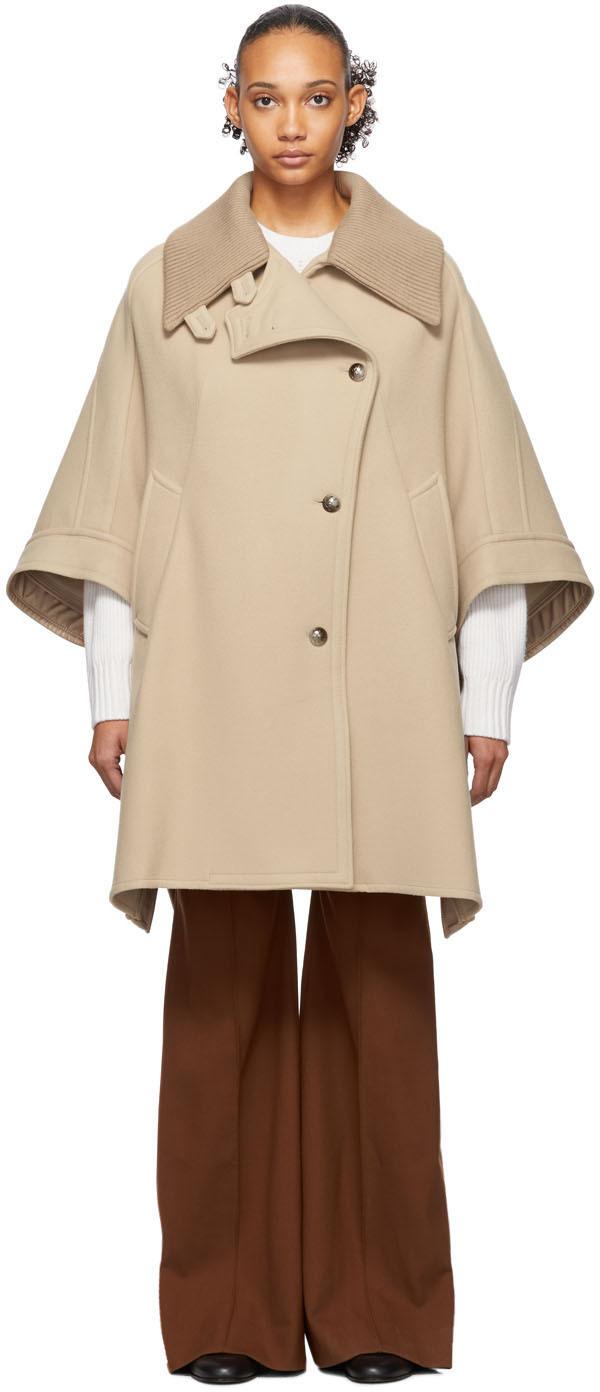 Chloé Coats Beige Cape Coat