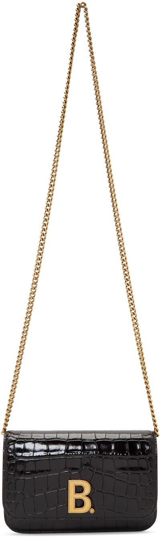 Balenciaga Shoulder Black Croc B. Wallet Chain Bag