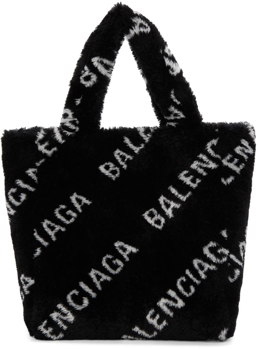 Balenciaga Totes Black XS Faux-Fur Everyday Tote