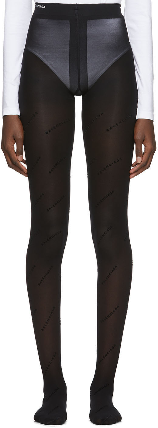 Balenciaga Pants Black Flocked All Over Tights