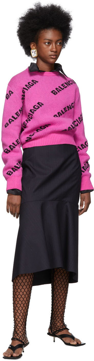 Balenciaga Sweaters PInk All Over Logo Sweater