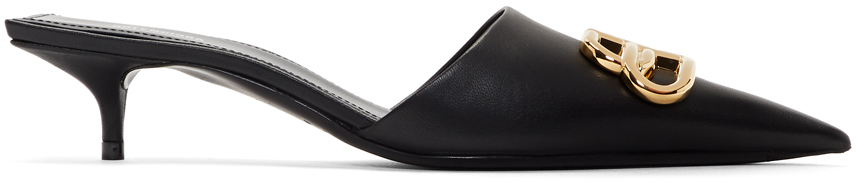 Balenciaga Shoes Black Square Knife BB Mules