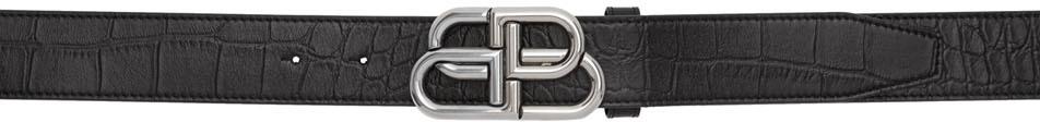 Balenciaga Belt Black Croc BB Belt