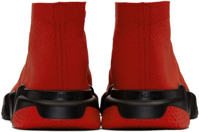 Balenciaga Sneakers Red & Black Speed Lace-Up Sneakers
