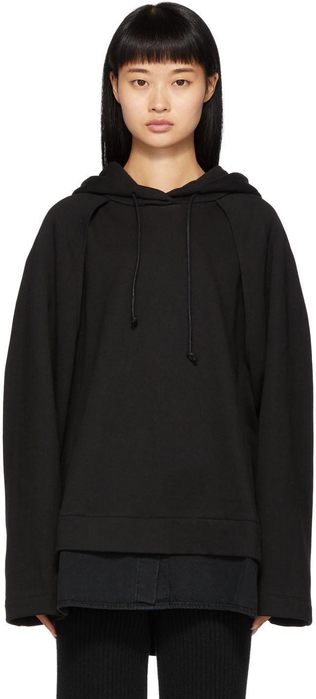 Juun.j Accessories Black Sleeve Detail Hoodie