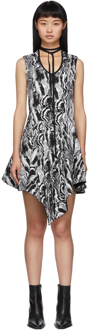 Mugler Dresses Black & White Tapestry A-Line Dress