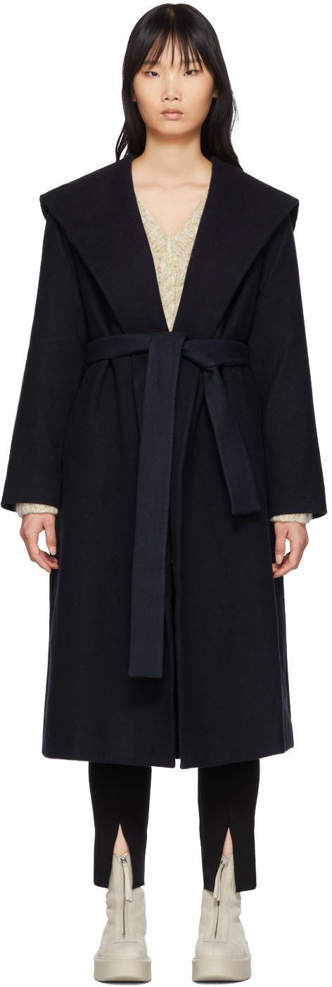 The Row Coats Navy Riona Hooded Coat