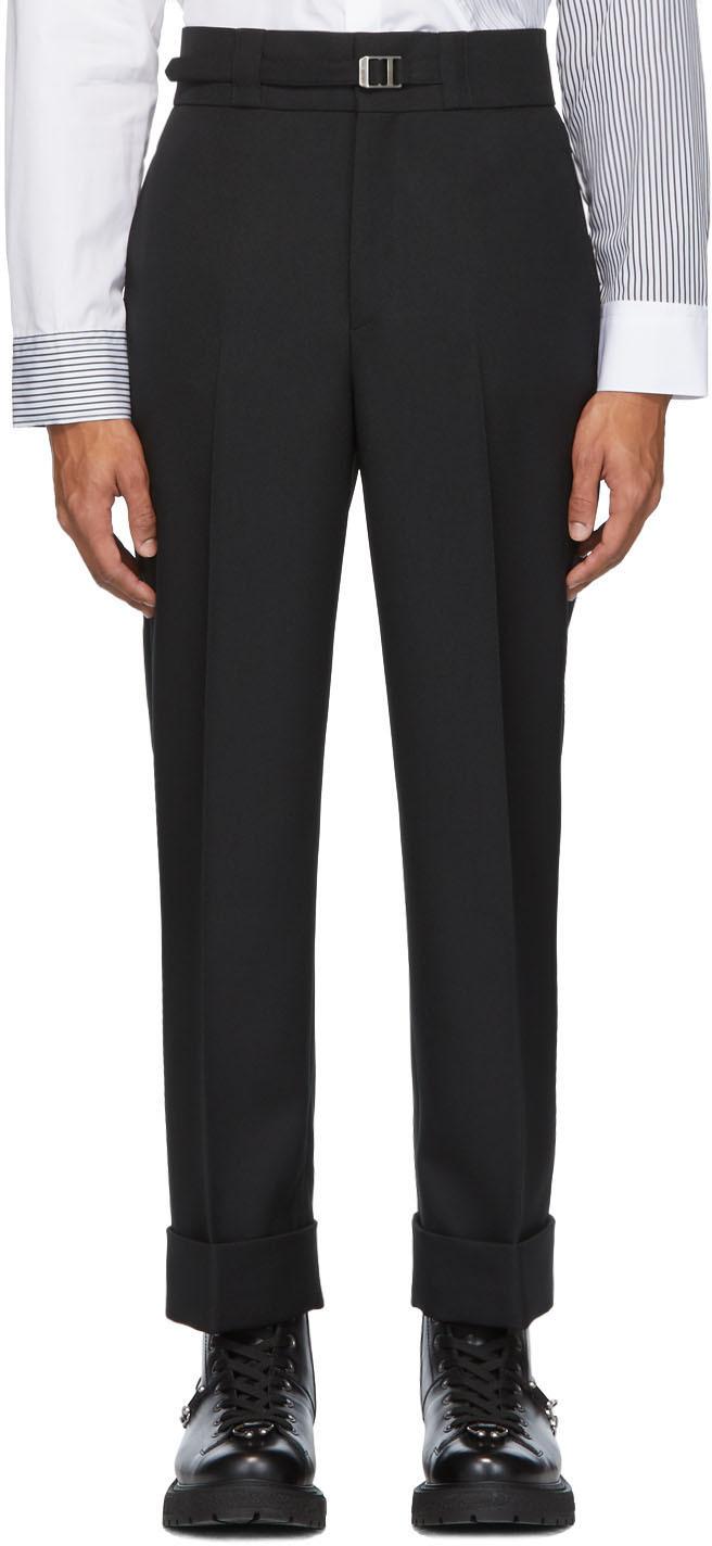 Neil Barrett Pants Black Belted Slim Tube-Leg Trousers