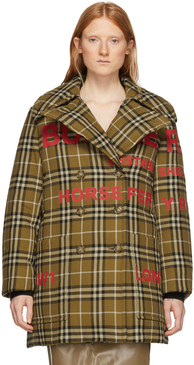 Burberry Coats Tan Down Vintage Check Double-Breasted Coat