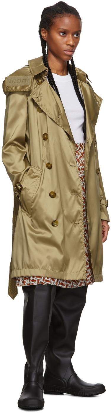 Burberry Coats Beige Nylon Kensington Trench Coat