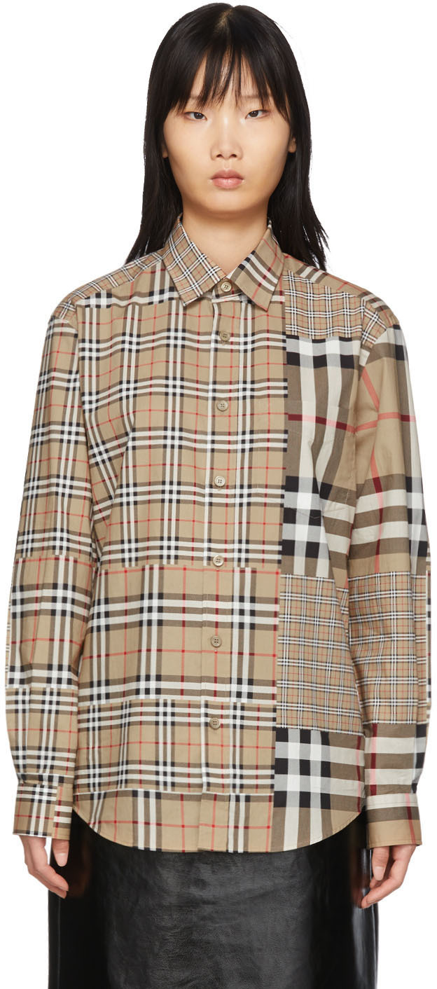 Burberry Shirts Beige Vintage Check Scales Shirt