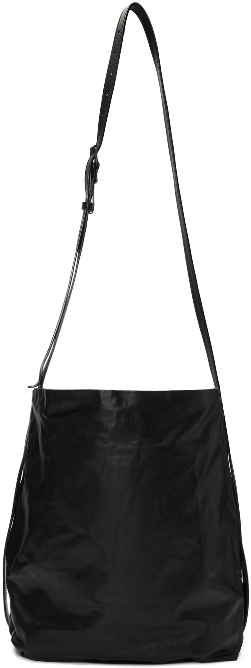 Ann Demeulemeester Black Leather Large Bucket Bag